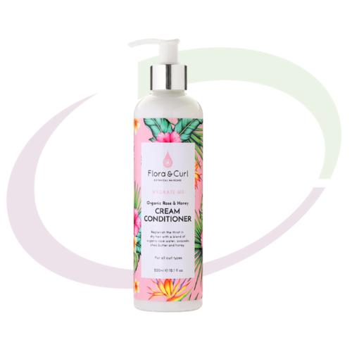 Flora & Curl Organic Rose & Honey Cream Conditioner, 300 ml