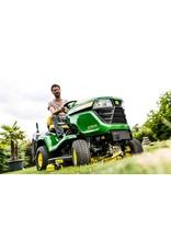 John Deere X350 Benzine Zitmaaier met mulch (107cm)