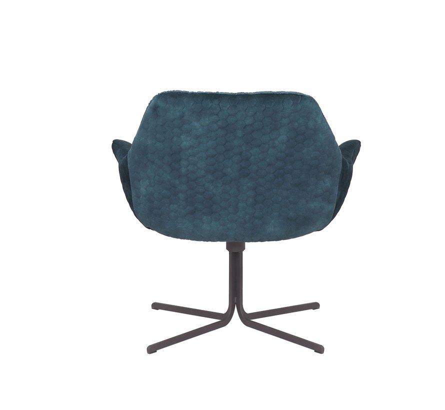 Samt Sessel Lizzy drehbar mit Armlehne blau