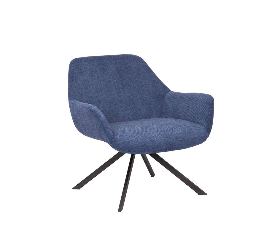 Sessel Emily Cord mit Armlehne modern blau