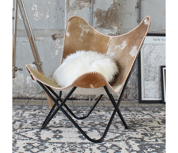 Bronx71 Butterfly Chair Livin Kuhfell braun
