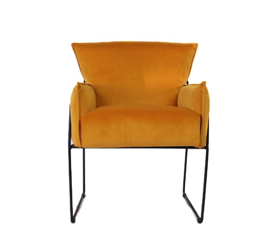 Samt Sessel Lasse mit Armlehne ockergelb