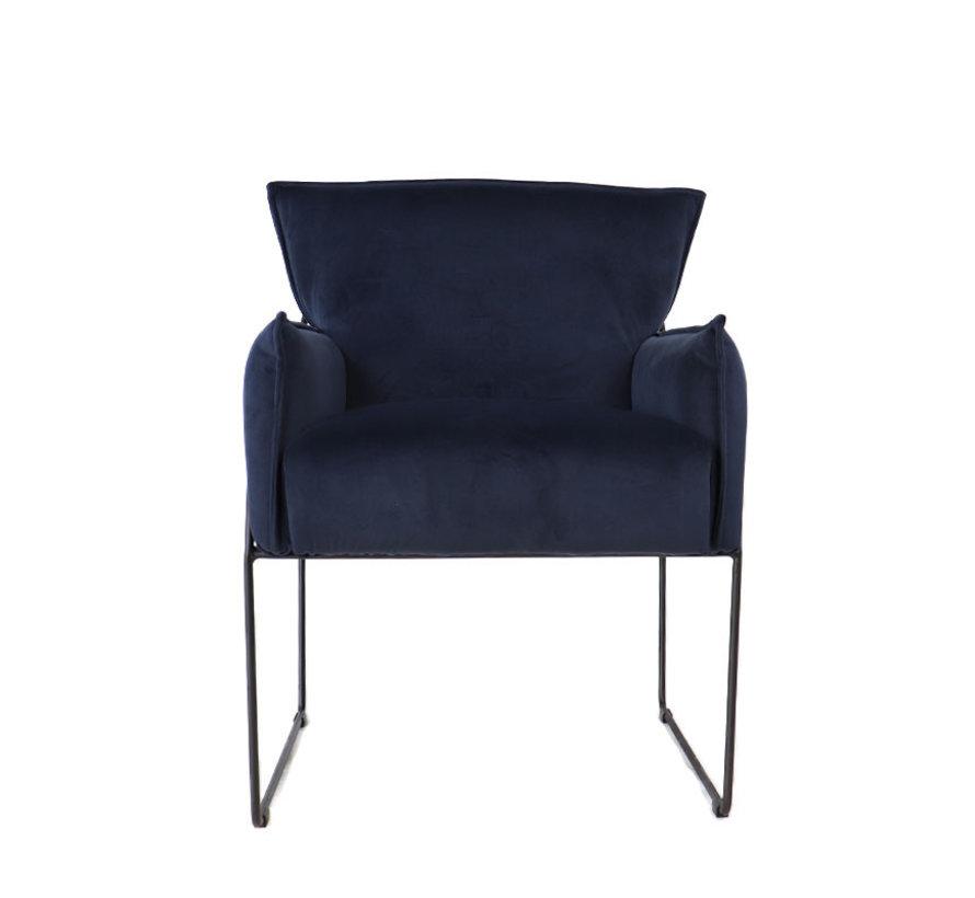 Samt Sessel Lasse mit Armlehne blau