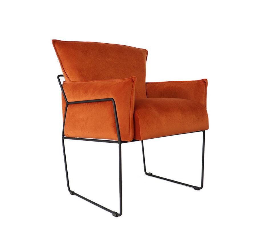 Samt Sessel Lasse mit Armlehne kupfer