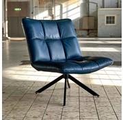 Bronx71 Ledersessel Madi drehbar Industrial Design blau