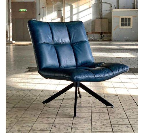 Ledersessel Madi drehbar Industrial Design blau