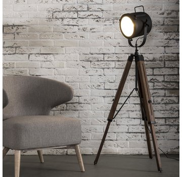 Stehlampe Chester schwarz Holz/Metall