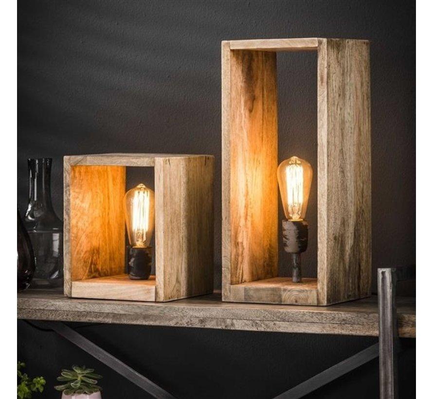 Tischlampe Caleb 1-flammig quadratisch Mangoholz