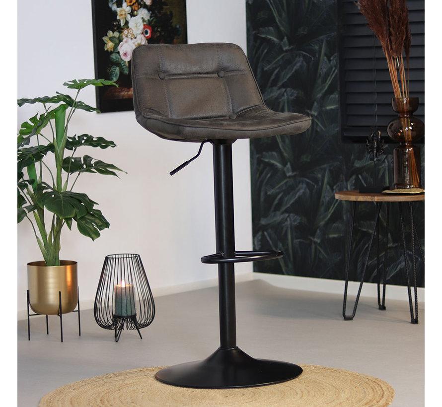 Barhocker Leder Rocky höhenverstellbar anthrazit 59-77 cm