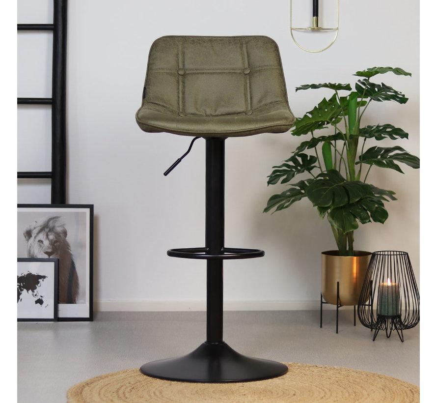 Barhocker Leder Rocky höhenverstellbar olivgrün 59-77 cm