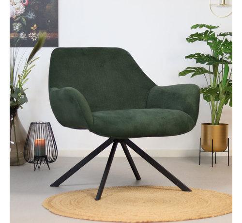 Sessel Emily Cord mit Armlehne modern grün