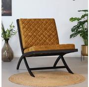 Bronx71 Samt Sessel Madrid Luxury Design ockergelb