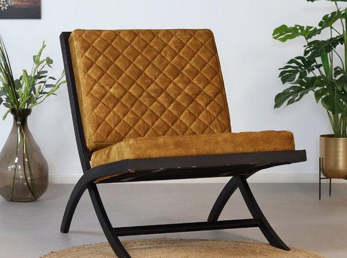 Samt Sessel Madrid Luxury Design ocker gelb
