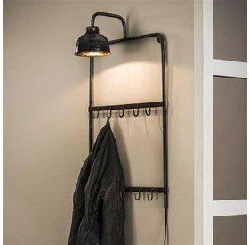 Wandgarderobe mit Lampe Ivan 44 cm 10 Haken