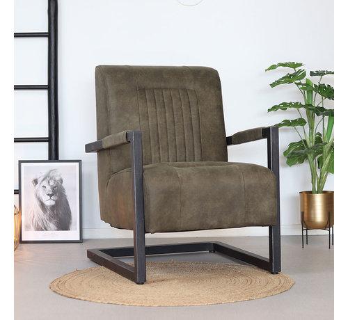 Bronx71 Sessel Microfaser Austin Industrial Design olivgrün