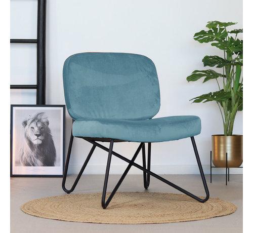 Samt Sessel Julia modern blau