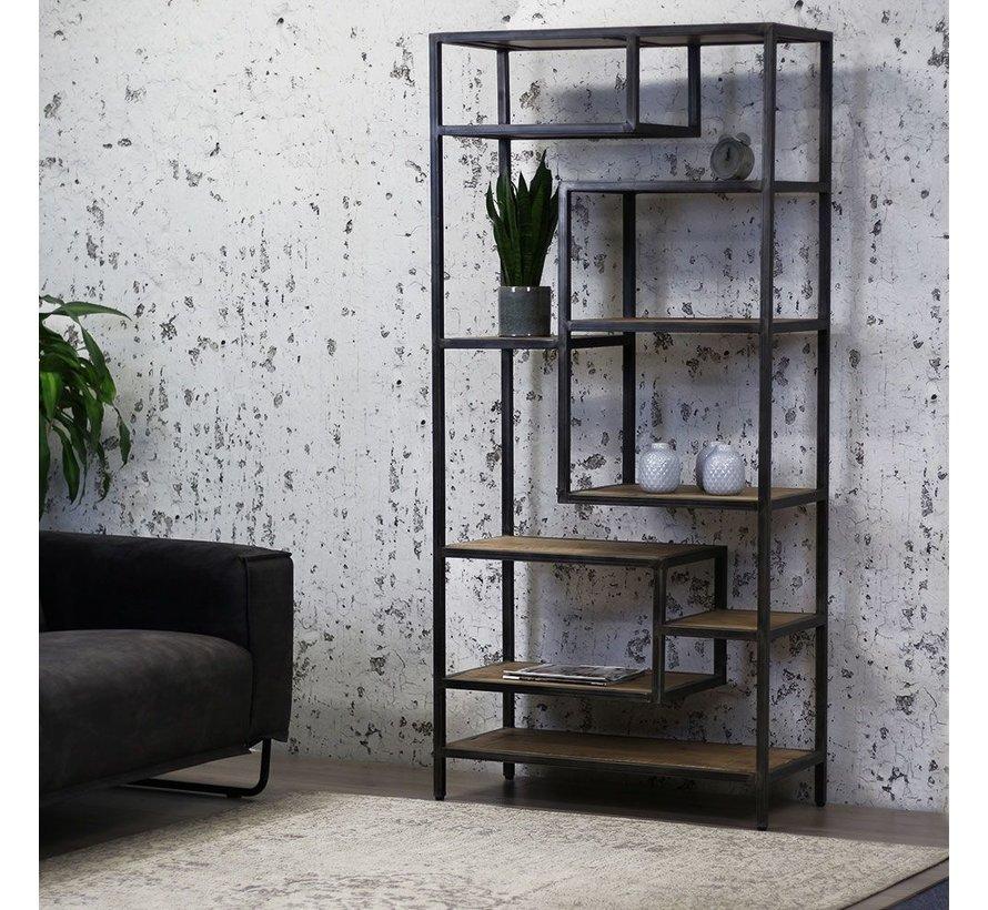 Bücherregal Siebe Industrial Design Metall Mangoholz