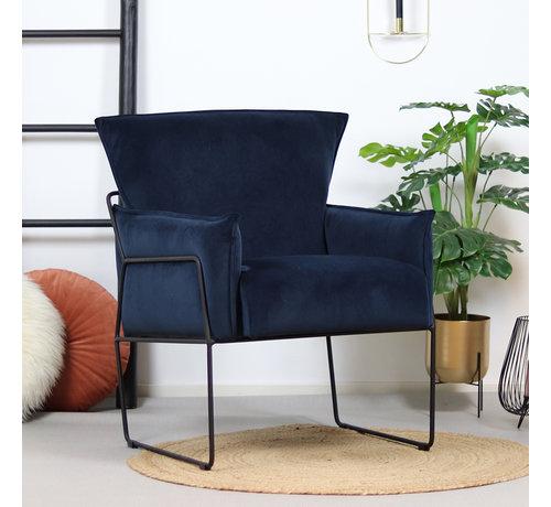 Bronx71 Samt Sessel Lasse mit Armlehne blau