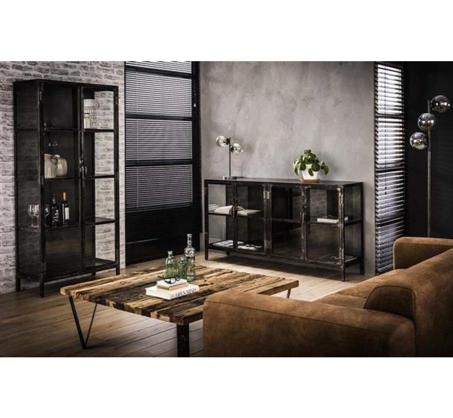 Vitrine Suri Industrial Design Metall/Glas schwarz