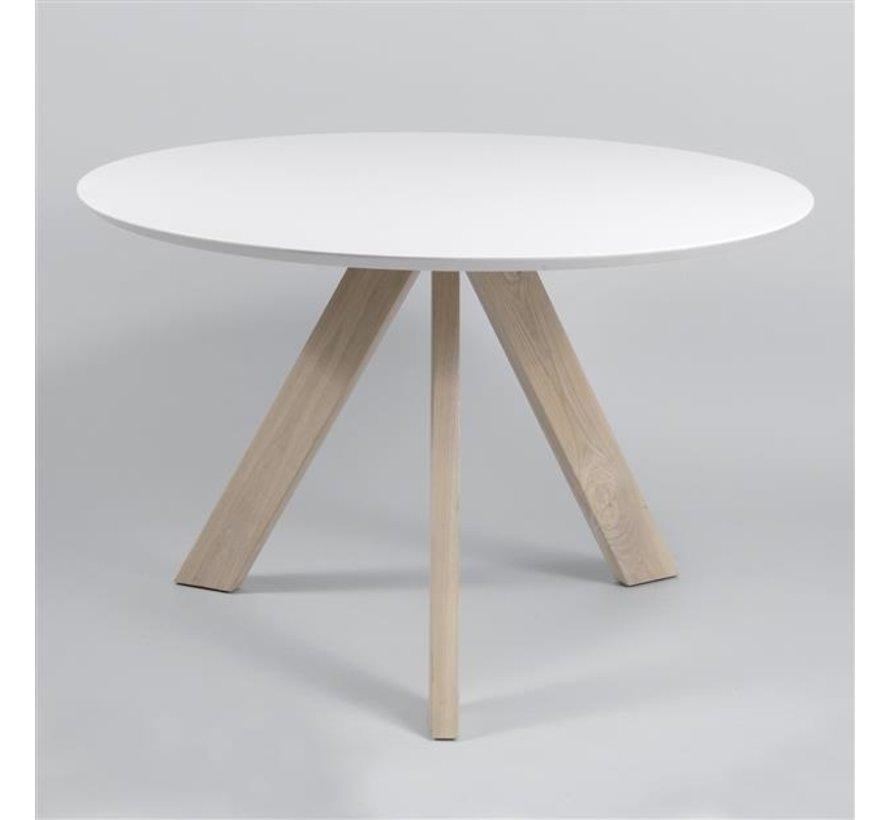 Runder Esstisch Tosca Ø 120 cm Eichenholzgestell weiß
