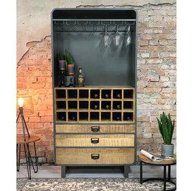 Weinschrank Bordeaux Mangoholz Metall 200 x 100 cm
