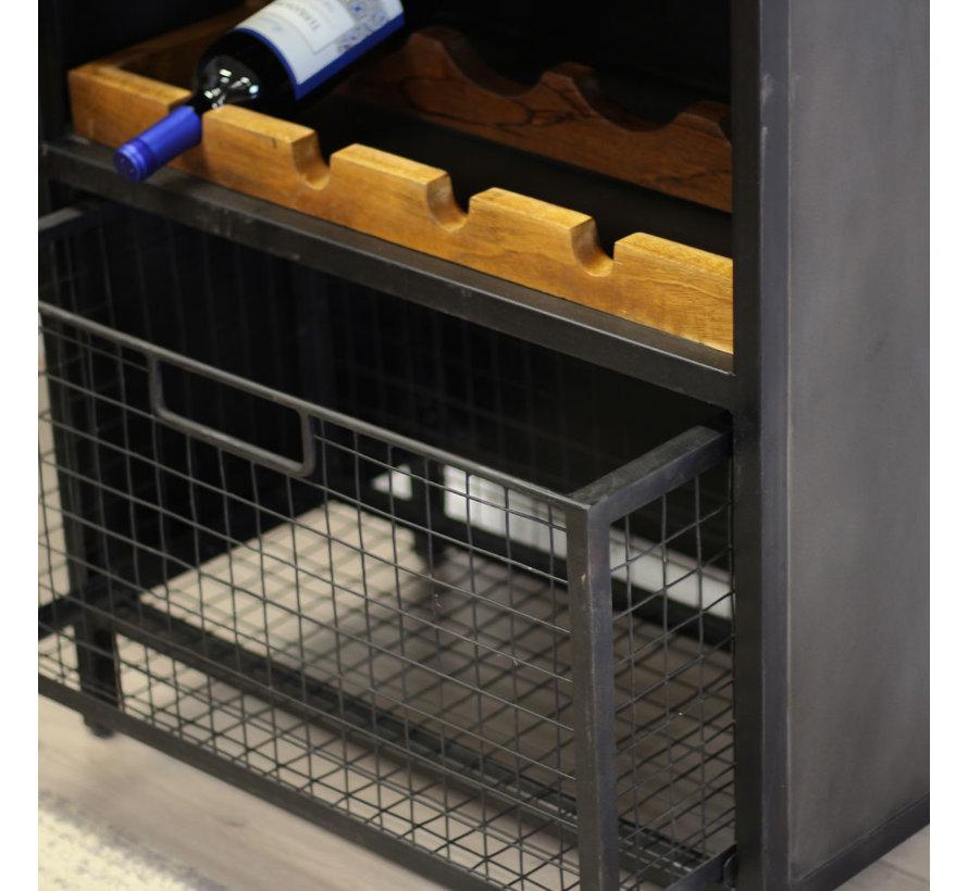 Weinschrank Loire Metall schwarz 183 x72 cm