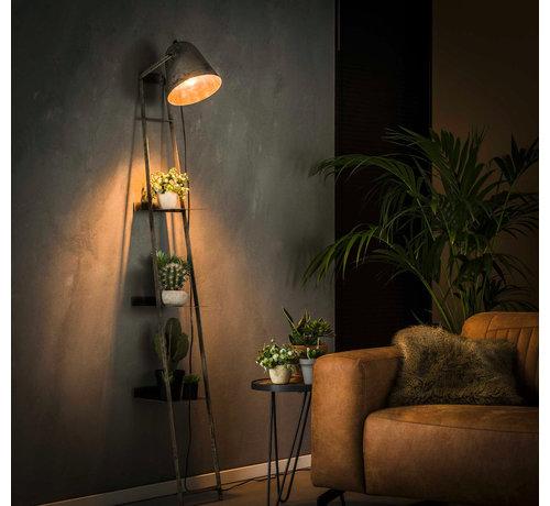 Leiterregal Tyron mit Lampe altsilber