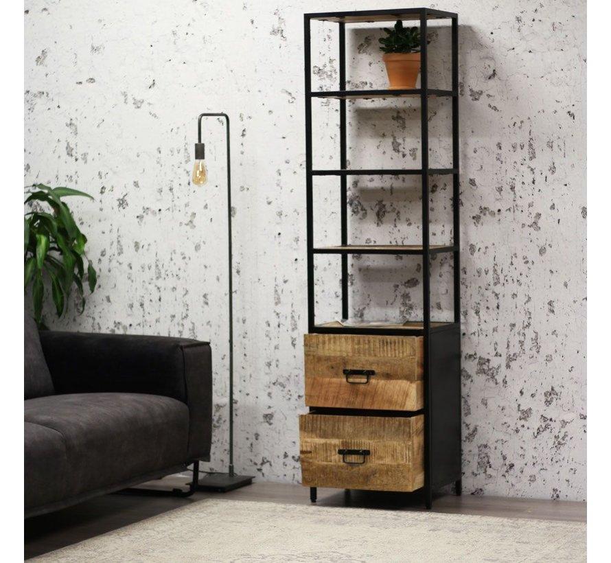 Bücherregal Allan Mangoholz Metall 188x50 cm