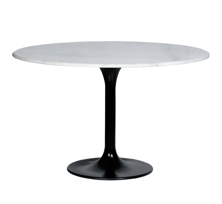 Runder Esstisch Marmor rund weiß 120 x 76 cm