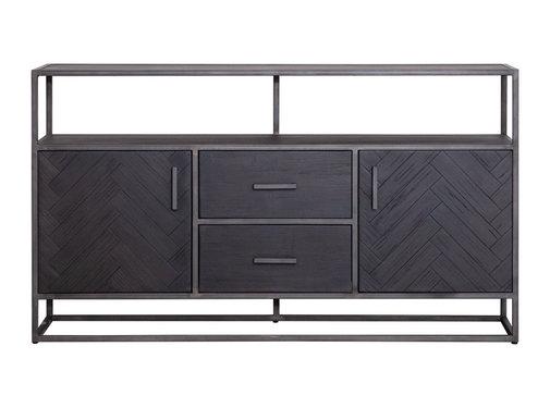 Eleonora Sideboard Hudson Akazienholz schwarz 2 Türen & 2 Schubladen