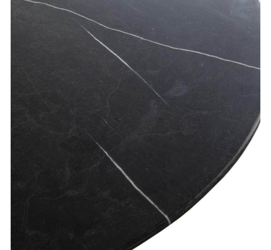 Runder Esstisch Marmor Emy schwarz 137 x 76 cm