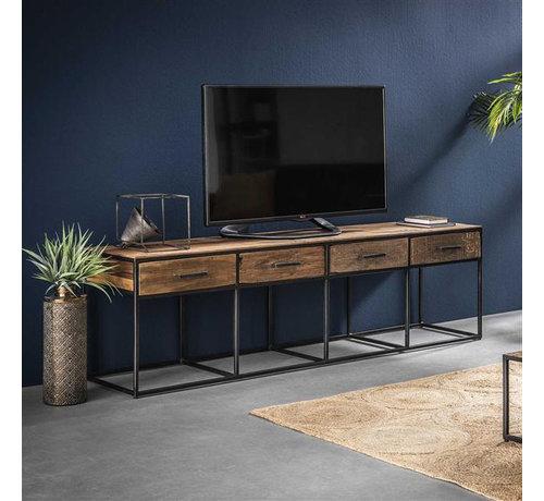 TV-Lowboard Floor Hartholz 4 Schubladen 120 cm