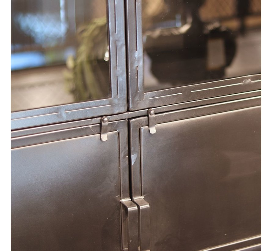 Vitrine Nick Industrial Design Metall 6 Türen