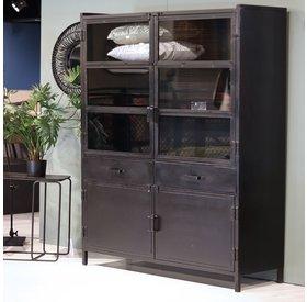 Eleonora Vitrine Nick Industrial Design Metall 4 Türen