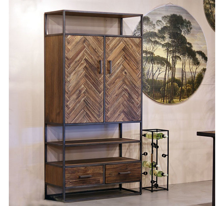 Wandschrank Hudson Akazienholz braun 2-türig