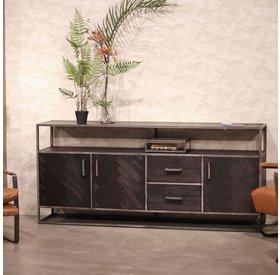 Eleonora Sideboard Hudson Akazienholz schwarz 3 Türen & 2 Schubladen