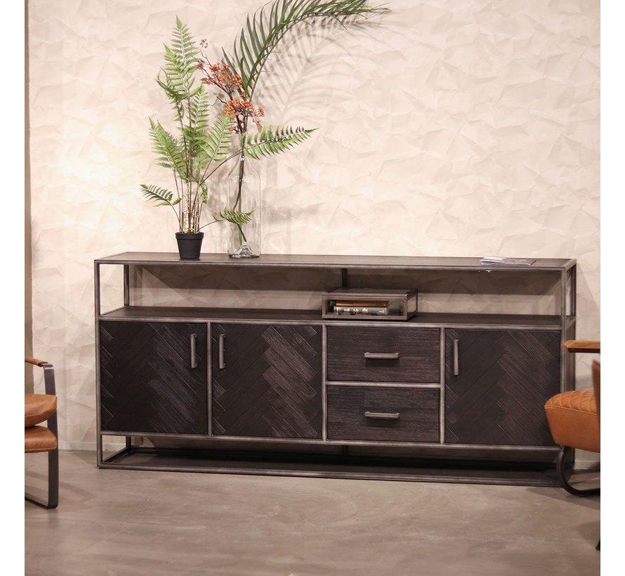 Sideboard Hudson Akazienholz schwarz 3 Türen & 2 Schubladen