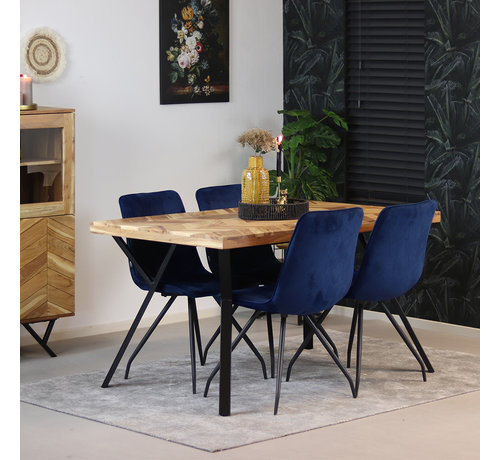 Bronx71 Esstisch Hunter Akazie Fischgrät-Design 140 x 90 cm