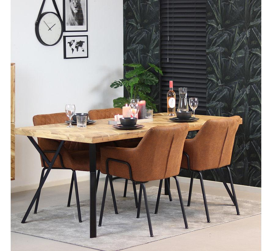 Esstisch Hunter Akazie Fischgrät-Design 180 x 90 cm