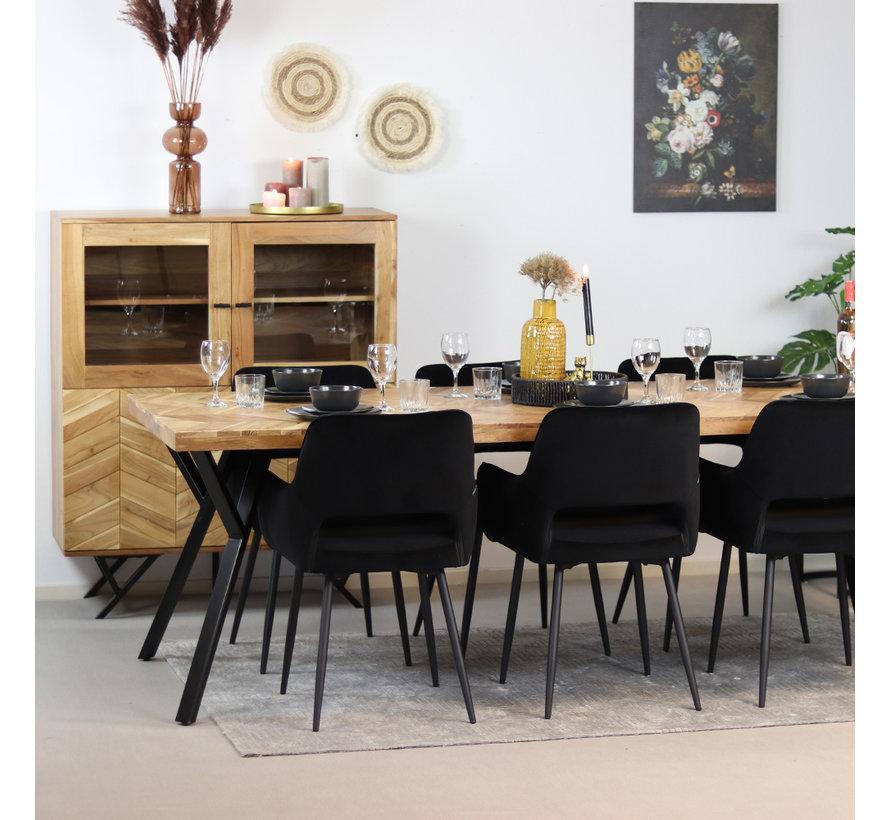 Vitrine Hunter Akazie Fischgrät-Design