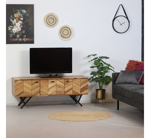 Bronx71 TV-Lowboard Hunter Akazie Fischgrät-Design 130 cm