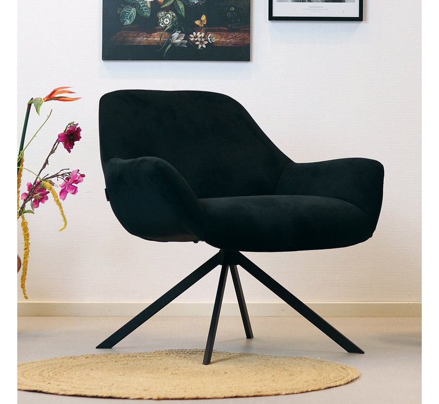 Sessel Emily Cord mit Armlehne modern schwarz