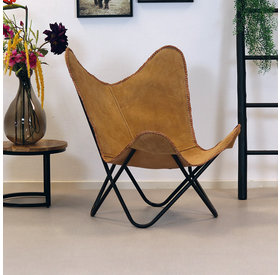Bronx71 Butterfly Chair Wildleder Livin camel