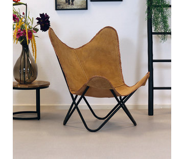 Bronx71 Butterfly Chair Wildleder Livin camel