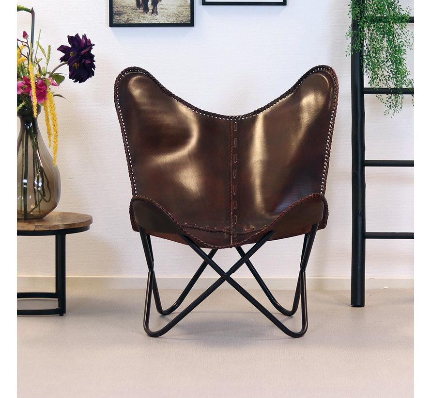 Butterfly Chair Leder Livin braun