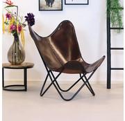 Bronx71 Butterfly Chair Leder Livin braun