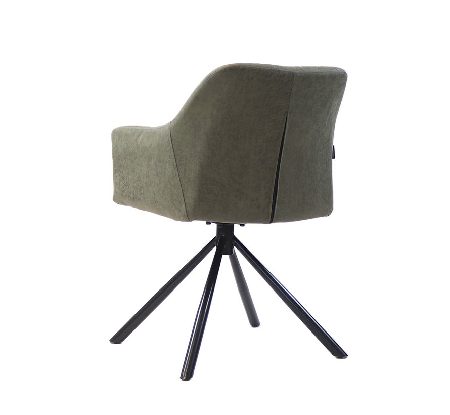 Esszimmerstuhl Leder Dex 180° drehbar Olivgrün