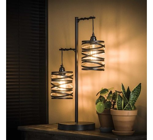 Tischlampe Cox 2-flammig grau