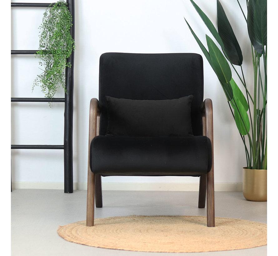 Samt Sessel Bibi mit Armlehne schwarz