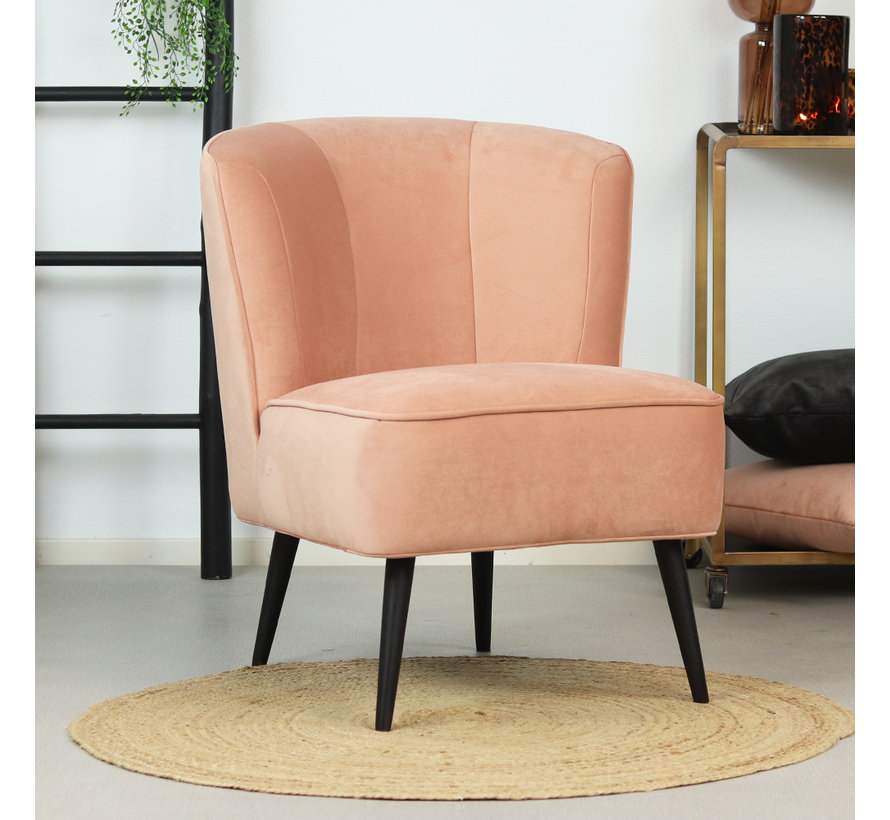 Samt Sessel Lyla modern rosa